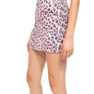 NWT Size 2 Free People pink cheetah sequin skirt